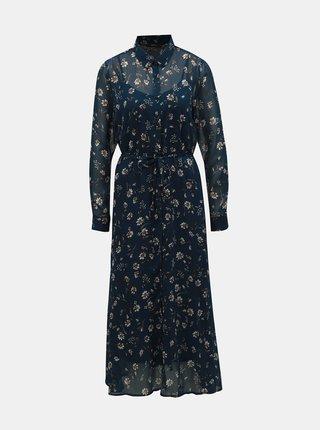 Tmavě modré květované košilové maxišaty ONLY Sheena
