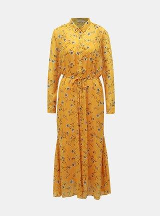 Hořčicové květované košilové maxišaty ONLY Sheena