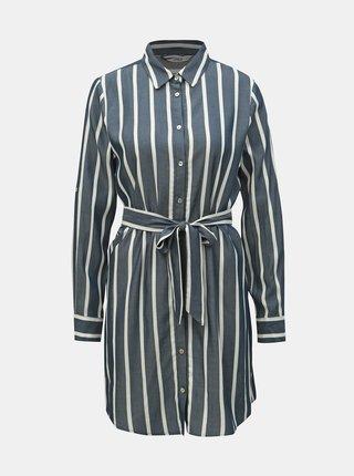 Bílo-modré pruhované košilové šaty ONLY Mira