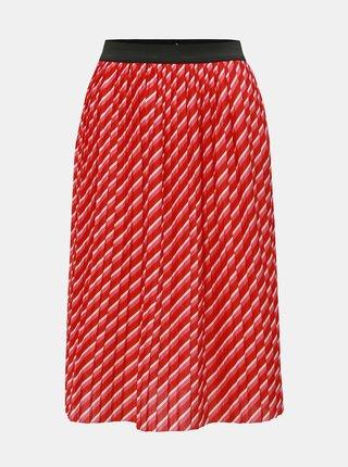 Růžovo-červená pruhovaná plisovaná sukně ONLY Disco