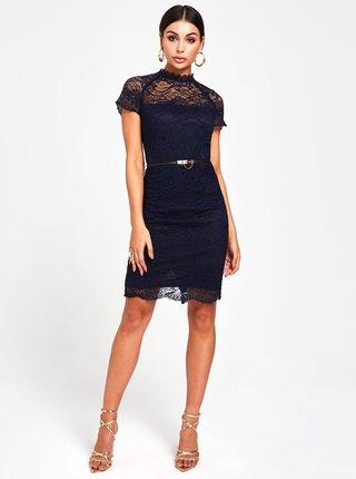 0e1c7afd21be Tmavomodré čipkované puzdrové šaty s volánom Paper Dolls