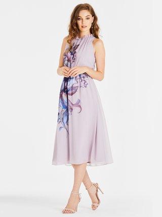 Světle fialové květované midišaty Little Mistress