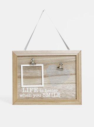 Svetlohnedá drevená závesná tabuľa na fotky Dakls