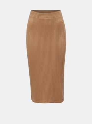 Béžová rebrovaná puzdrová sukňa TALLY WEiJL