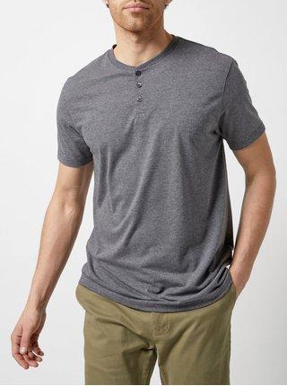 Šedé žíhané tričko s knoflíky Burton Menswear London