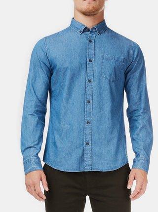 Camasa albastra din denim cu buzunar Burton Menswear London