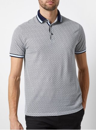Tricou polo gri cu model Burton Menswear London