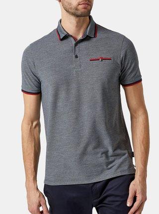 Šedé žíhané polo tričko Burton Menswear London