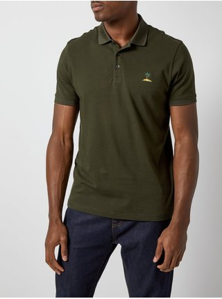 Tricou polo verde inchis cu broderie Burton Menswear London