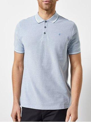 Světle modré žíhané polo tričko Burton Menswear London