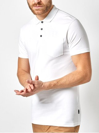 Biela muscle fit polokošeľa s vreckom Burton Menswear London