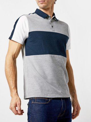 Tricou polo albastru-gri Burton Menswear London