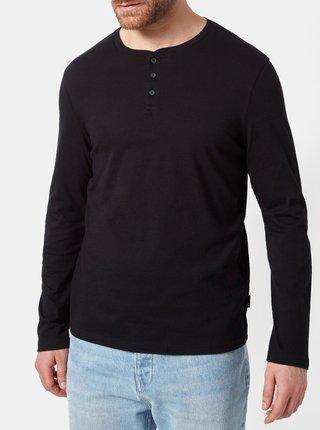 Černé regular fit tričko s knoflíky Burton Menswear London