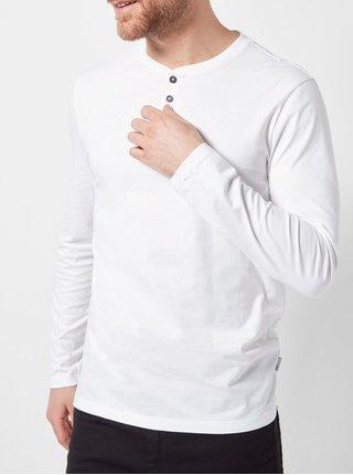 Bílé regular fit tričko s knoflíky Burton Menswear London