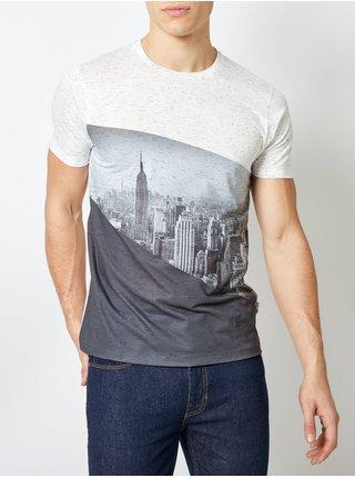 Šedo-krémové žíhané tričko Burton Menswear London