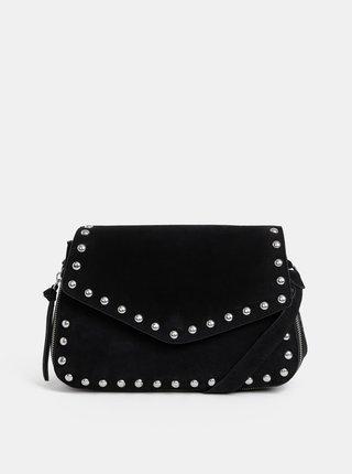 Čierna kožená crossbody kabelka Pieces Elisia