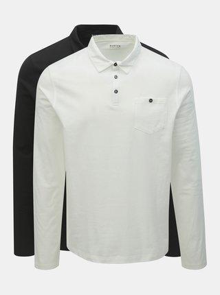 Sada dvou regular fit polo triček v černé a bílé barvě Burton Menswear London