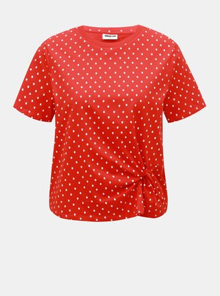 Červené bodkované tričko Noisy May Bine