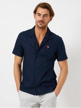 Camasa albastru inchis cu broderie Burton Menswear London
