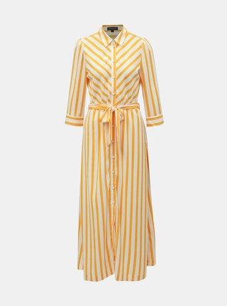 Bielo–žlté pruhované košeľové maxišaty Selected Femme Dorit