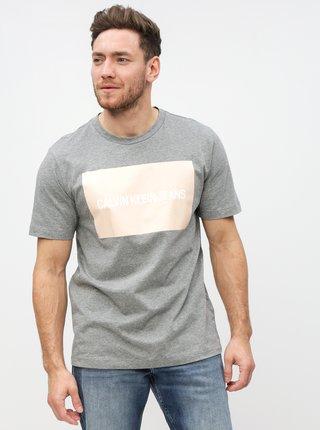 9f48ef05ce Šedé pánské žíhané tričko s potiskem Calvin Klein Jeans