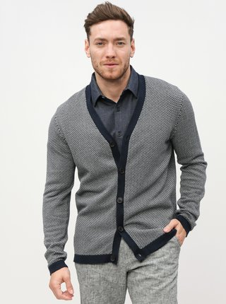 Cardigan gri-albastru cu model Selected Homme Jaz-Harring