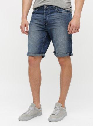Pantaloni scurti albastru inchis din denim cu aspect prespalat ONLY & SONS Ply