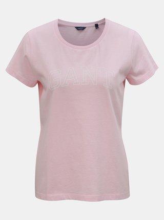 ef962aaa3cb1 Světle růžové dámské tričko s potiskem GANT