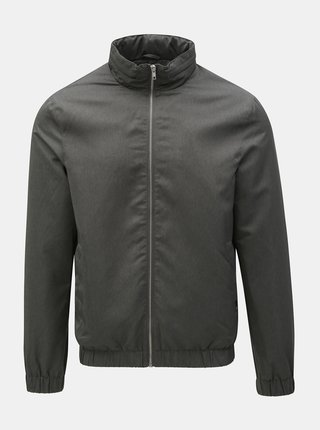 Jacheta subtire gri inchis cu fermoar Burton Menswear London