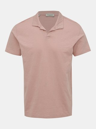 Tricou polo roz prafuit Selected Homme Fillipe