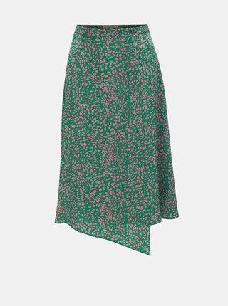 Zelená vzorovaná zavinovací sukně Miss Selfridge