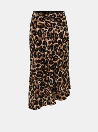 4de703203315 Černo-hnědá asymetrická sukně s gepardím vzorem Miss Selfridge