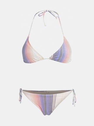 Fialovo–ružové dámske pruhované dvojdielne plavky Rip Curl