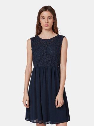 e5ce0f003470 Tmavomodré šaty s čipkovaným topom Tom Tailor Denim
