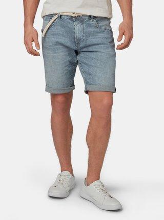 Modré pánské džínové pruhované regular fit kraťasy Tom Tailor Denim