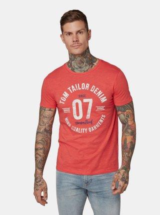 Červené pánské tričko s potiskem Tom Tailor Denim