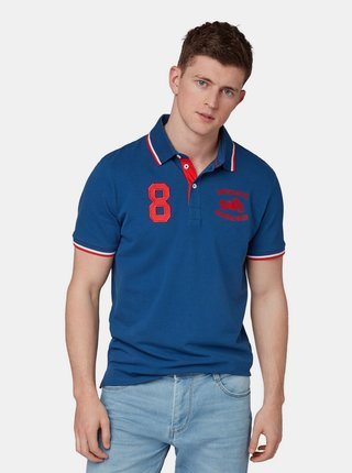 Tmavě modré pánské polo tričko s výšivkou Tom Tailor