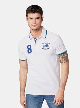 Bílé pánské polo tričko s výšivkou Tom Tailor