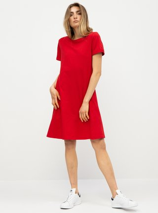 Červené basic šaty s vreckami ZOOT
