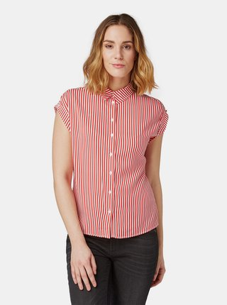 Červená dámska pruhovaná košeľa Tom Tailor