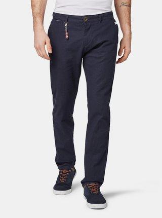Tmavě modré pánské lněné regular fit chino kalhoty s karabinkou Tom Tailor