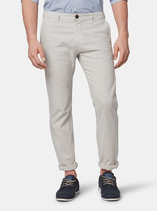 Pantaloni barbatesti gri deschis regular fit chino din in cu carabine Tom Tailor