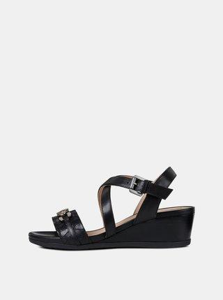 Černé dámské kožené sandály na klínku Geox Mary Karmen