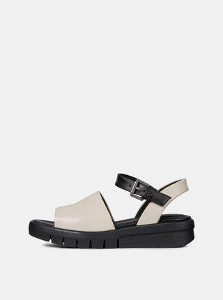Sandale negru-crem de dama din piele cu platforma Geox Wimbley