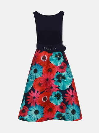 Rochie asimetrica rosu-albastru florala cu curea Dorothy Perkins