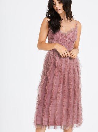 Staroružové šaty na ramienka s čipkou Little Mistress