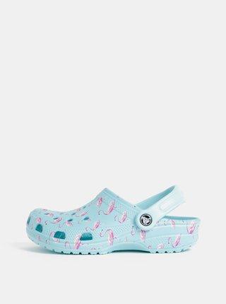 Světle modré vzorované pantofle Crocs Classic Seasonal Graphic Clog