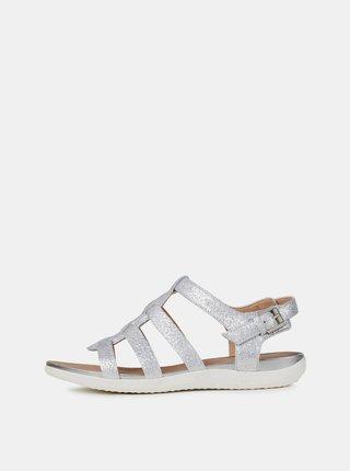 Sandale argintii de dama din piele Geox Sand Vega