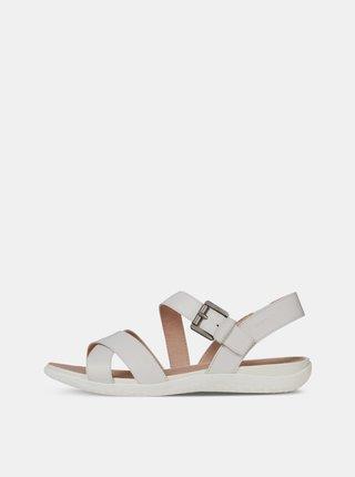 Svetlosivé dámske kožené sandále Geox Lea