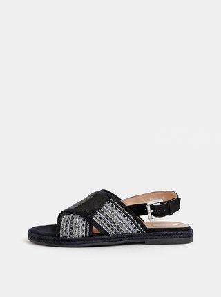 Černé dámské sandále s flitry Geox Kolleen